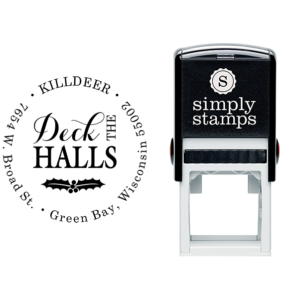 Deck the Halls Return Address Stamp Body and Design