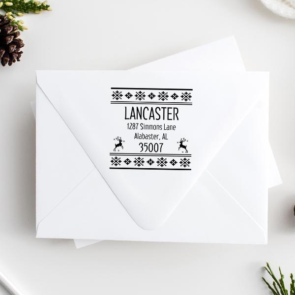 Designer Reindeer Return Address Stamp Imprint Example