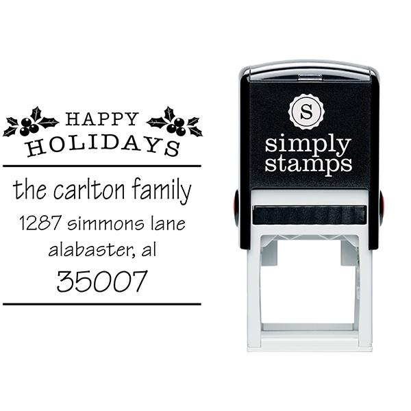 Happy Holidays Holly Return Address Stamp Body and Design