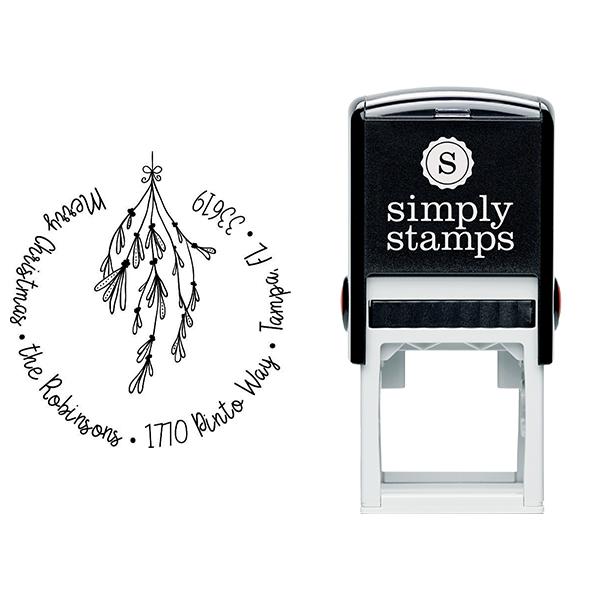 Mistletoe Round Script Christmas Return Address Stamp Body and Design