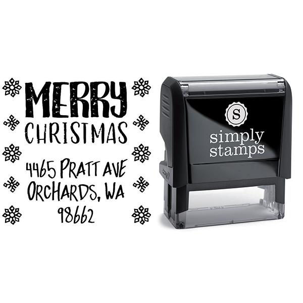 Snowflake Christmas Return Address Stamp Body and Design