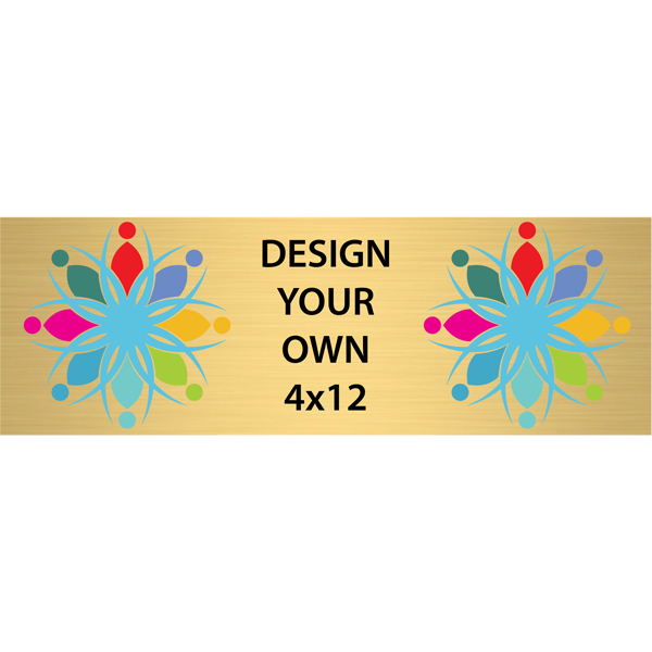 """Horizontal Full Color Brass Signs 4"""" x 12"""""""