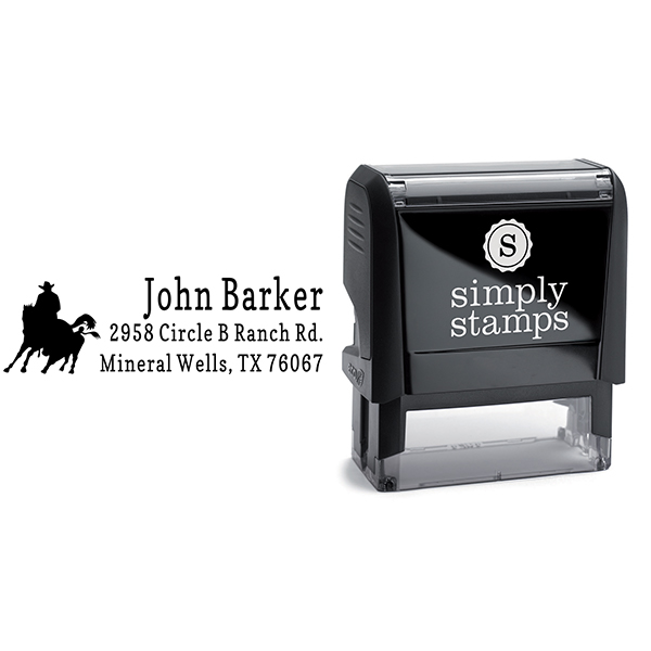 Roping Cowboy Address Stamp Body and Design