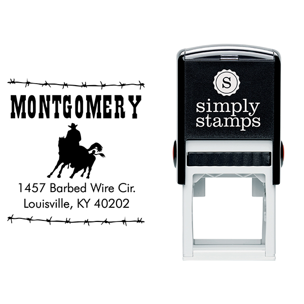 Roping Cowboy Square Address Stamp Body and Design