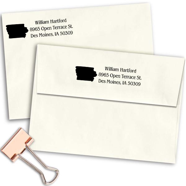 Iowa Return Address Stamp Imprint Example