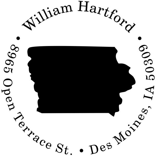 Iowa Round Address Stamp