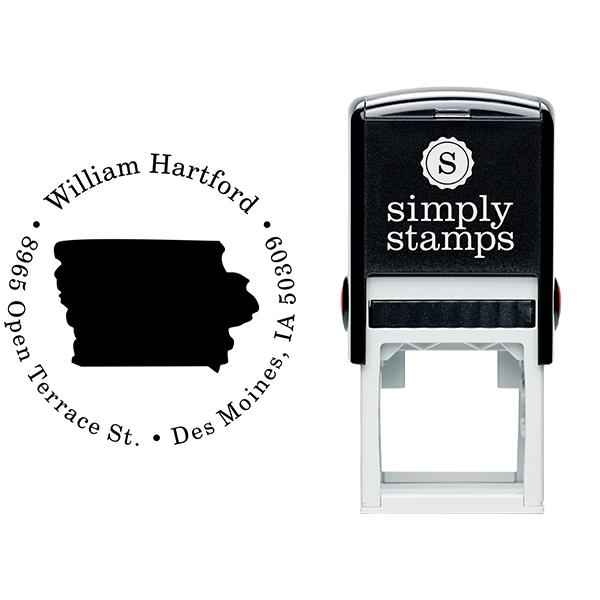 Iowa Round Address Stamp Body and Design