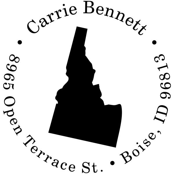 Idaho Round State Address Rubber Stamp