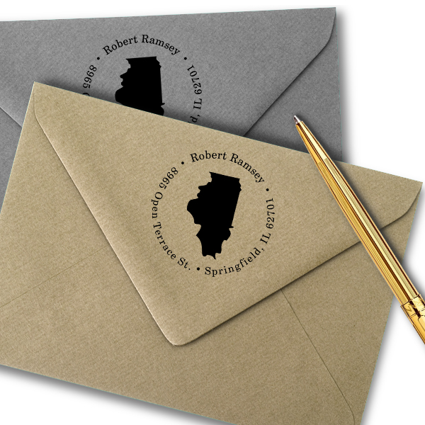 Illinois Round Address Stamp Imprint Example