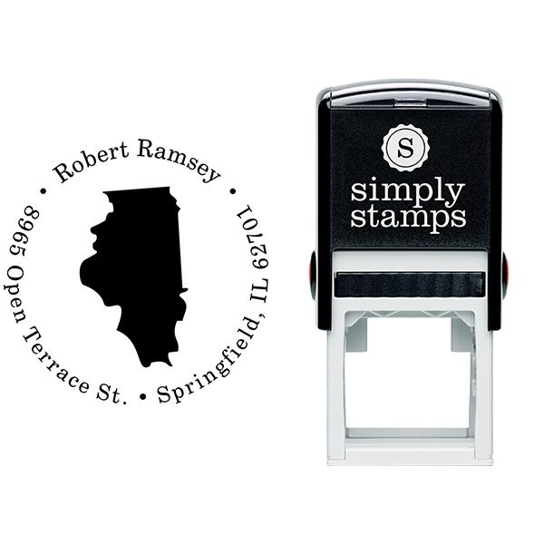 Illinois Round Address Stamp Body and Design