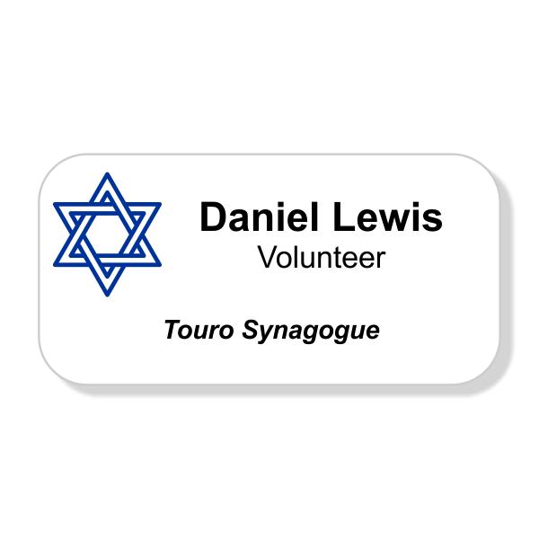Jewish Faith Full Color Name Tag - Large Rectangle