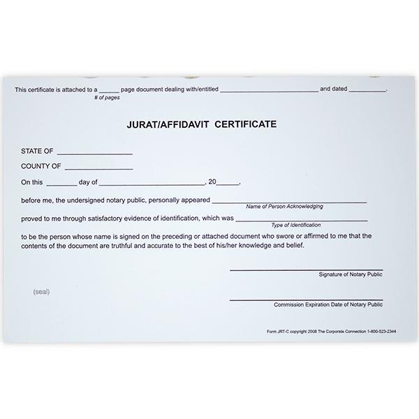 Jurat/Affidavit Notary Certificates