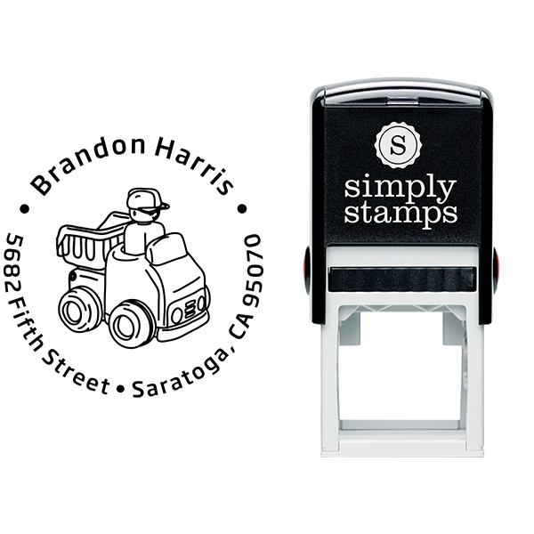 Dump Truck Return Address Stamp Body and Design