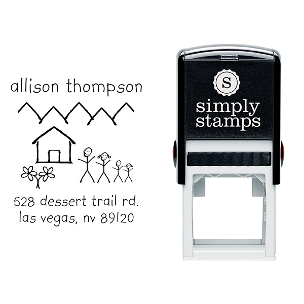 Family Doodle Return Address Stamp Body and Design