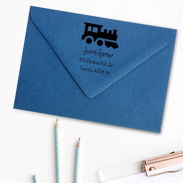 Toy Train Engine Return Address Stamp Imprint Example