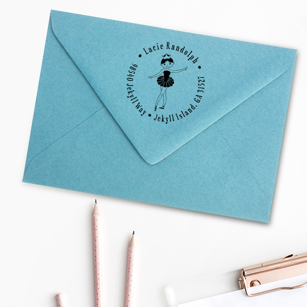 Ballerina Return Address Stamp Imprint Example