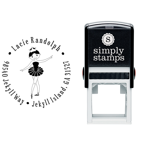 Ballerina Return Address Stamp Body and Design