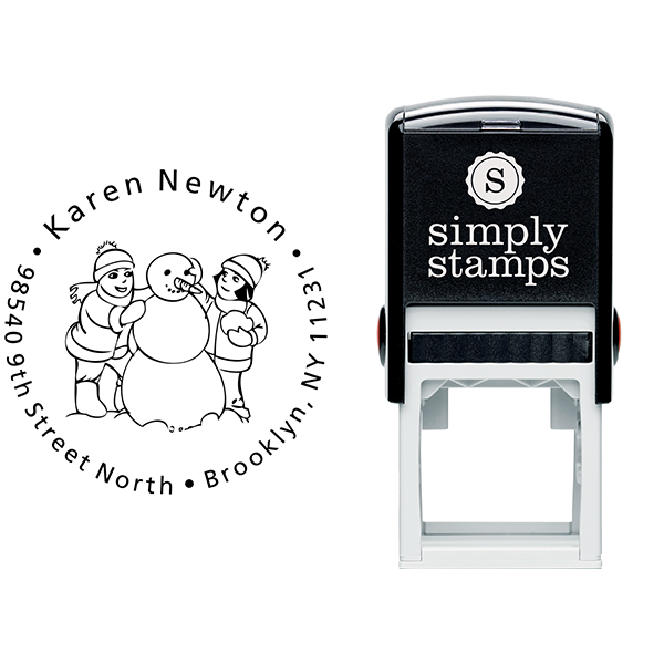 Girls building Snowman Return Address Stamp Body and Design