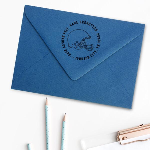 Football Helmet Return Address Stamp Imprint Example