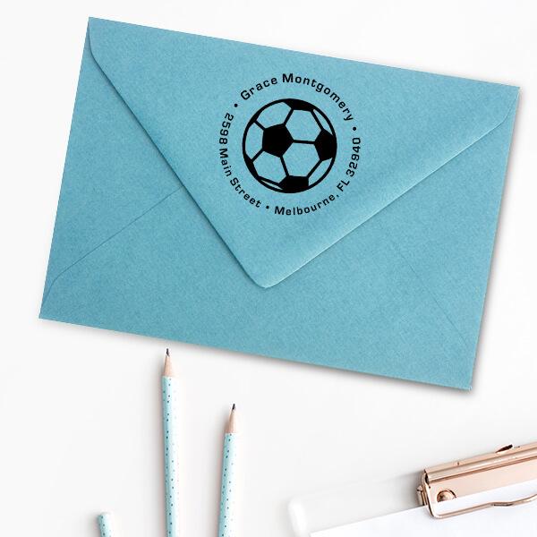Soccer Ball Return Address Stamp Imprint Examples on Envelopes