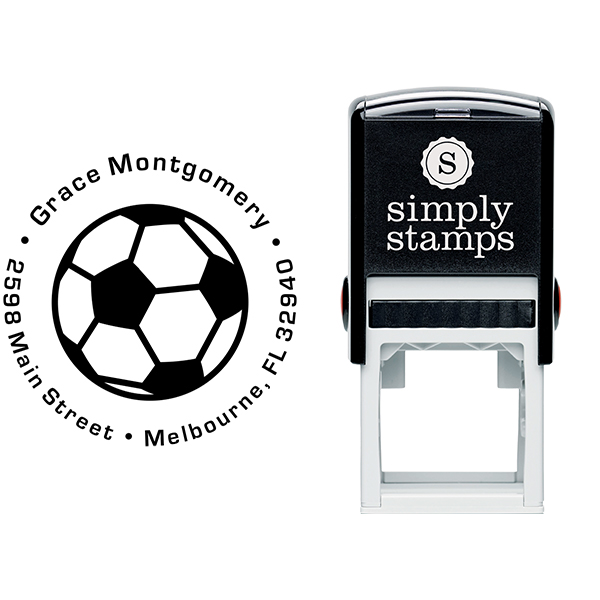 Soccer Ball Return Address Stamp Body and Design