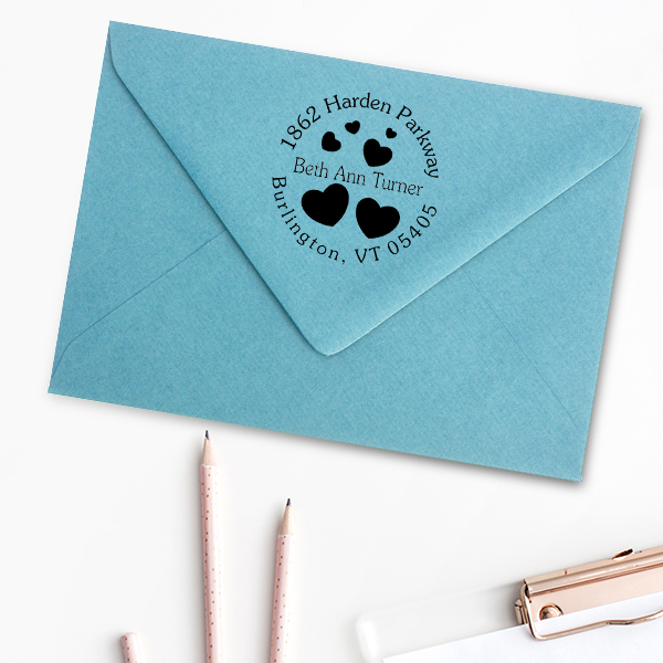 Lots of Hearts Address Stamp Imprint Example