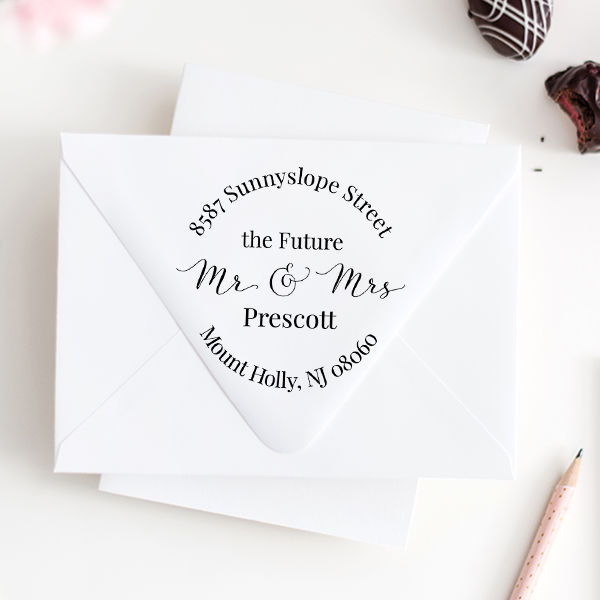 Family Names Personalized Return Address Stamp The Future Mr Hand Lettered Wedding Stamp Self Inking Wedding Stamp /& Mrs