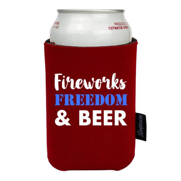 Koozie® Fireworks Freedom & Beer Patriotic Drink Cooler
