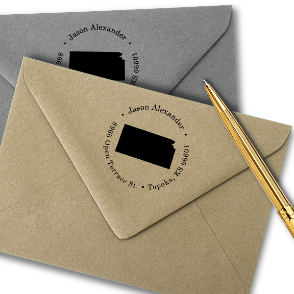 Kansas Round Address Stamp Imprint Example