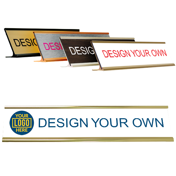 "Left Logo Full Color 2"" x 10"" Desk Plate with Holder"