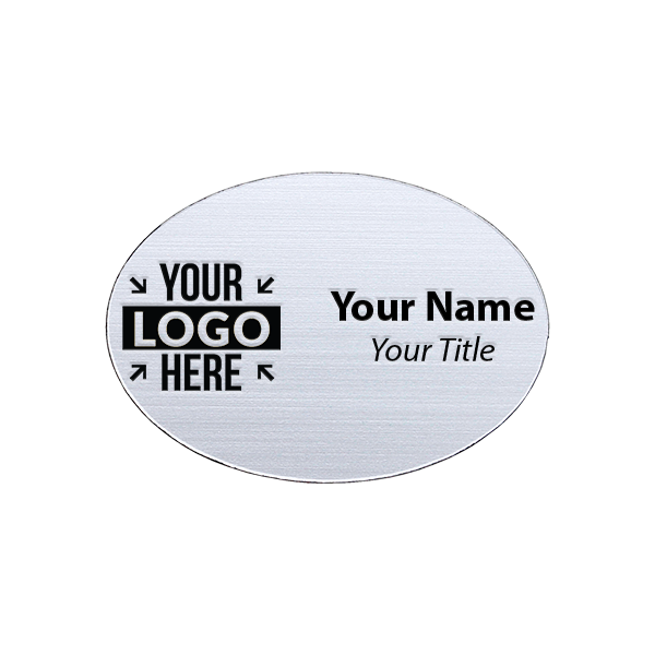 "Laser Engraved Oval White Name Tag - 1.75"" x 2.5"""
