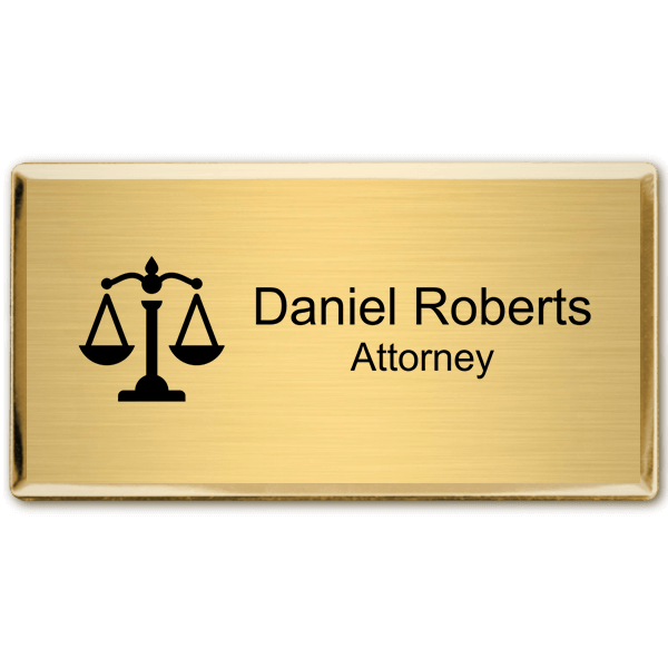 "Law Office Rectangular Name Tag with Executive Holder (3"" x 1.5"")"