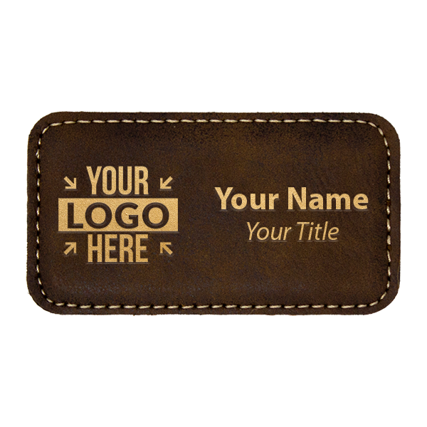 "Leatherette Rectangle Magnetic Name Tag - 1.75"" x 3.25"""