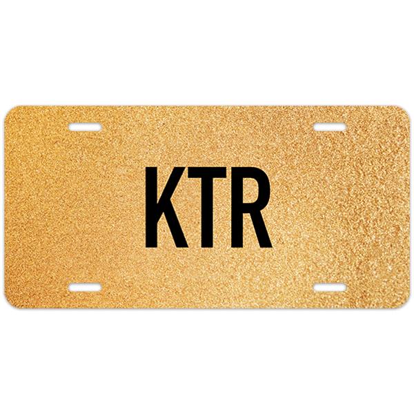 Gold Texture Monogram License Plate