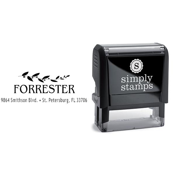 Forrester Leafy Vine Address Stamp Body and Imprint