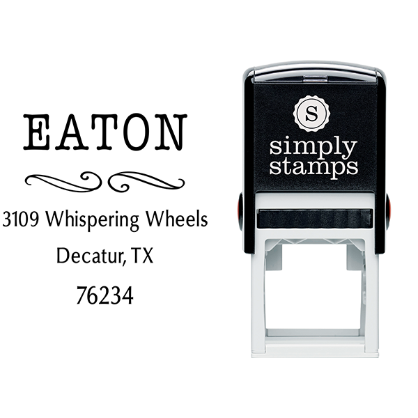 Eaton Deco Curly Q Address Stamp Body and Imprint