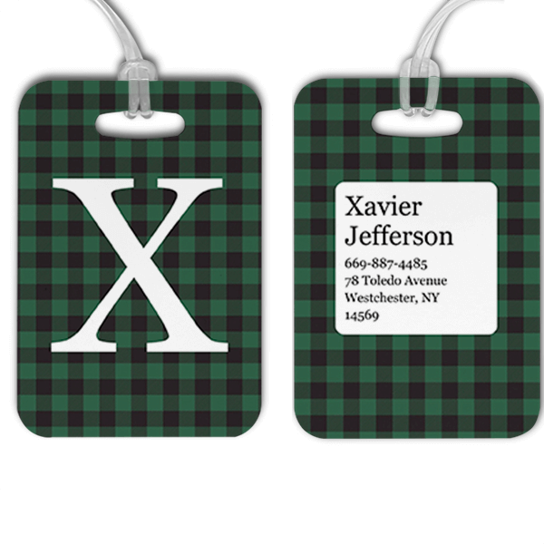 Green Buffalo Plaid Monogram Luggage Tag