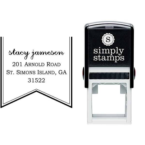 Ribbon Return Address Stamp Body and Design