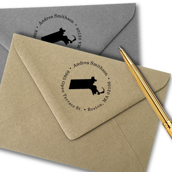 Massachusetts Round Address Stamp Imprint Example