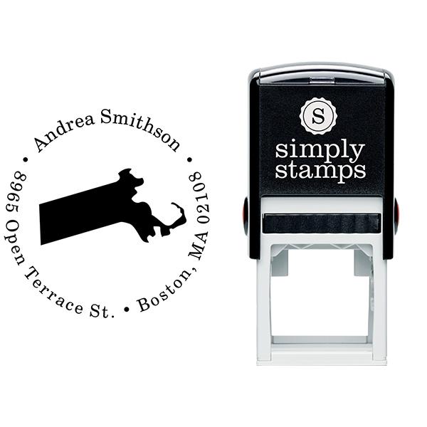 Massachusetts Round Address Stamp Body and Design