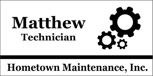Maintenance Gears 3 Line Name Badge