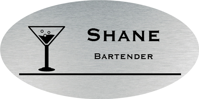 Martini Glass Oval Bar & Wine Name Tag