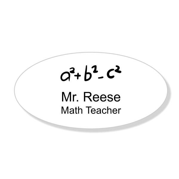 Math Teacher Engraved Oval School Name Tag