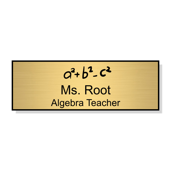 Math Teacher Engraved School Name Tag