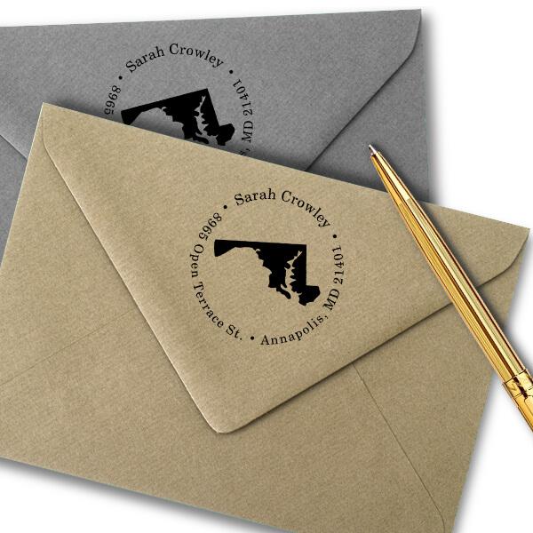 Maryland Round Address Stamp Imprint Example
