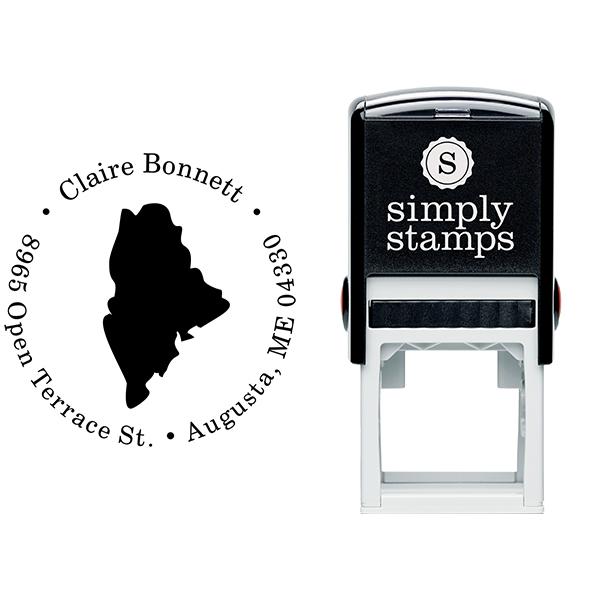 Maine Round Address Stamp Body and Design