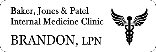 Medical Caduceus Symbol 3 Line Name Badge