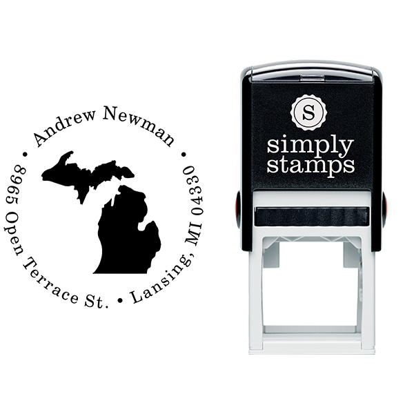 Michigan Round Address Stamp Body and Design