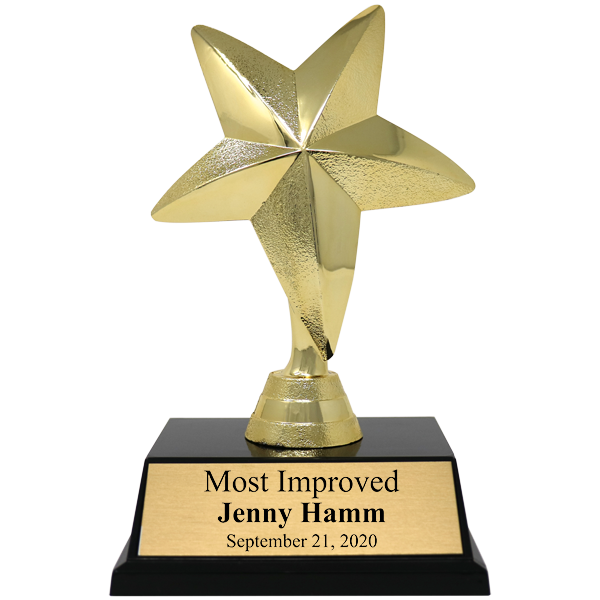 Most Improved Gold Star Award Trophy