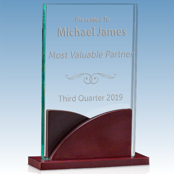 Most Valuable Person Premium Acrylic Award with Mahogany Base